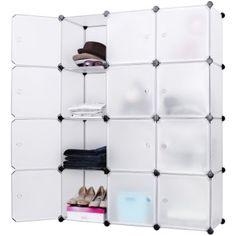 Songmics DIY Armoire Penderie Cubes Etagère Modulables Plastiques Cadre en Métal Blanc LPC34W: Amazon.fr: Cuisine & Maison