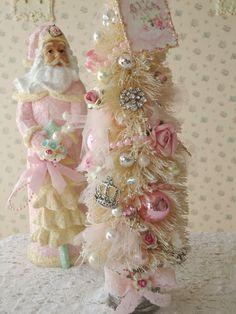RESERVED for JULIE - Pink Jeweled Bottle Brush Tree - Shabby Paris. $52.00, via Etsy.