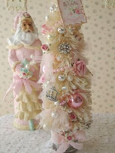 RESERVED for JULIE - Pink Jeweled Bottle Brush Tree - Shabby Paris. $52.00, via Etsy.