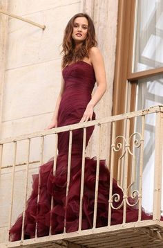 Leighton Meester Burgundy Strapless Mermaid Prom #Dress #GossipGirl Click to Buy!