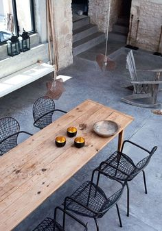 For outdoor dining- farmhouse table with wire chairs Outdoor Dining Chairs, Dining Area, Kitchen Dining, Narrow Dining Tables, Adirondack Chairs, Outdoor Wood Table, Wire Dining Chairs, Balcony Table And Chairs, Timber Table