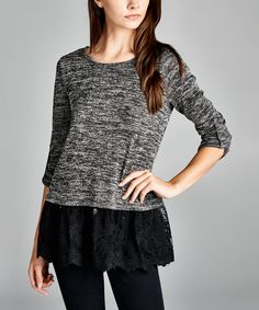 Love this Love, Kuza Black Lace-Hem Roll-Tab Sleeve Top by Love, Kuza on #zulily! #zulilyfinds