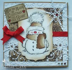 Passion for Papercraft: Penny Black Saturday Challenge - Helen's sketch -- idea: card images as painted ornaments Christmas Cards To Make, Christmas Greeting Cards, Christmas Greetings, Greeting Cards Handmade, Handmade Christmas, Holiday Cards, Christmas Snowman, Step Card, Penny Black Cards