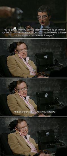 Stephen Hawking burns John Oliver. LOL!