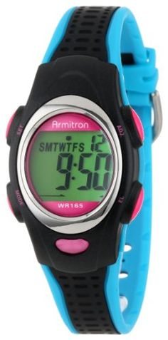 Armitron Unisex 456967BKBL Chronograph Black and Turquoise Resin Strap Sport Watch $26.24 (25% OFF) + Free Shipping