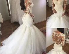 2018 Mermaid Wedding Dresses Sheer V Neck Long Sleeves Illusion Lace Applique Beaded Backless Button Court Train Tulle Bridal Gowns Vestido How To Dress For A Wedding, Sheer Wedding Dress, Western Wedding Dresses, Wedding Gowns With Sleeves, Wedding Dresses 2018, Lace Mermaid Wedding Dress, Long Sleeve Wedding, Mermaid Dresses, Bridal Dresses