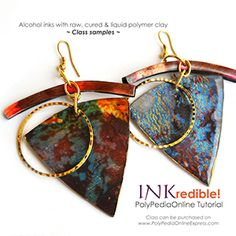 INKredible polymer clay earring - Polymer clay and alcohol inks. Live class sample. Class can be purchased at - http://www.polypediaonlineexpress.com/product/complete-inkredible-alcohol-inks-polymer-clay-tutorials-ebookvideocd/