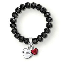 TS Jewelry Black Obsidian Stone Bracelets with LOVE Heart Charm, Thomas Style Silver Plated Fashion Jewellery for Women Men #Affiliate