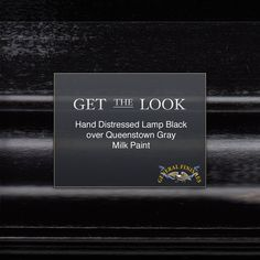 Want to go dark but not too dark?  Try GF Lamp Black over Queenstown Gray Milk Paint.  To learn more about distressing watch our video, https://www.youtube.com/watch?v=DQilIHtFxpY #generalfinishes #gfmilkpaint #getthelook