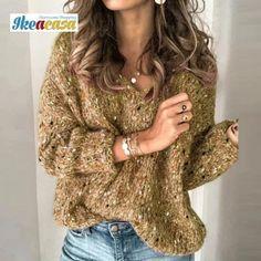 FloryDay / V-Ausschnitt Uni Lässige Kleidung Large Regelmäßige Shift Pullover Long Sweaters, Pullover Sweaters, Sweaters For Women, Uni, Types Of Sleeves, Long Sleeve Sweater, Sleeve Pattern, Neck Pattern, Gray Green