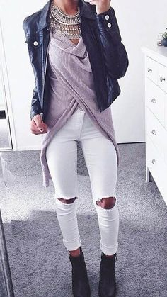 I like this outfit...but not sure i could pull off the white jeans...black or blue jeans would be better for me...
