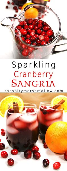 Sparkling Cranberry Sangria is the perfect drink for fall and winter.
