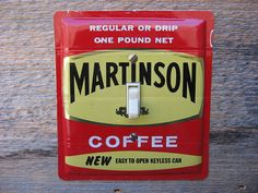 Vintage 1950s Martinson Coffee tin made into a switch plate by tincansally #martinsoncoffee #vintage1950s