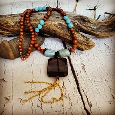 Summer Boho Necklace, 5th Anniversary Gift For Her, March Birthstone, Turquoise Necklace, Healing Crystals, Wooden Necklace, Tassel Necklace by blueworldtreasures. Explore more products on http://blueworldtreasures.etsy.com