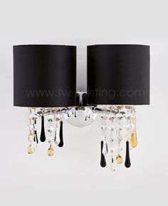Aiardini dual wall light, Glamour. Polished chrome frame with cylindrical fabric shades and Swarovski crystal glass chains and Venetian glass drops  123-AP-2L