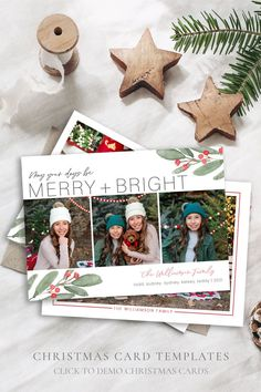 Spread some holiday cheer this season with a festive Holiday Card Template. Your family photos will look perfect in this 5x7 Christmas card. You can quickly and easily edit your card online in your web browser, then download and print right away! Choose from a Year in Review or just photos for the back! Both options included! Demo Now! #ChristmasCards #ChristmasCardIdeas #ChristmasTemplate #ChristmasCard #HolidayPhotoCard