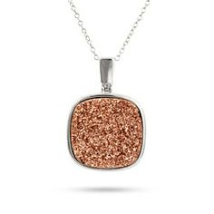 Sterling Silver Cushion Cut Rose Drusy Necklace