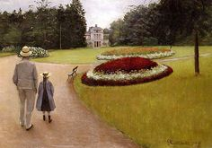 The Park on the Caillebotte Property at Yerres, Gustave Caillebotte. French Impressionist Painter (1848-1894)