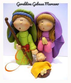 The Nativity nacimientos realizados por geraldine Polymer Clay People, Polymer Clay Cake, Polymer Clay Figures, Fondant Figures, Polymer Clay Projects, Polymer Clay Creations, Clay Crafts, Christmas Nativity, Christmas Crafts