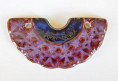 Handmade porcelain pendant tribal  boho purple and por Majoyoal