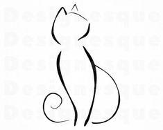 Cat Outline SVG Cat Outline Clipart, Cat Outline Files for Cricut, Cat Outline Cut Files Cat Outline Tattoo, Outline Drawings, Tattoo Cat, Hp Tattoo, Cat Tattoos, Ankle Tattoos, Tiny Tattoo, Arrow Tattoos, Friend Tattoos