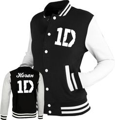 ONE DIRECTION inspired Varsity Jacket Top 1D tour black/white. S, M, L & XL | eBay