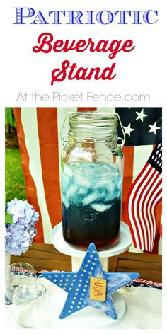 DIY Patriotic Beverage Stand from At the Picket Fence