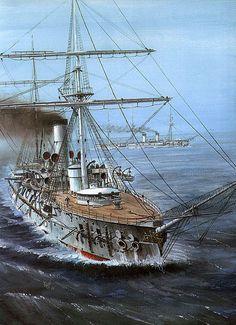 """Battle cruiser """"Admiral Nakhimov"""" by Artist Vladimir Emyshev"""