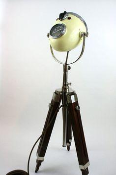 Vintage Motorcycle Headlight Floor Lamp by TheModernWeld on Etsy