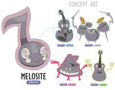 O Pokémon nota musical fantasma. Há alguns anos um novo Pokémon foi descoberto em Lareen. Sendo considerados até hoje os Pokémon mais excêntricos da região, os Melosite são parasitas fantasmas em forma de nota musical, capazes de possuir alguns instrumentos musicais, tais como violão, piano, violino e bateria. Essa sua habilidade é muito semelhante a dos Rotom, porém os Melosite são capazes de possuir apenas instrumentos musicais. São Pokémon dóceis e medrosos, quando estão em sua forma normal, Pokemon Names, Pokemon Breeds, Pokemon Alola, Pokemon Pokedex, Pokemon Comics, Pokemon Fan Art, Pokemon Fusion, Cute Pokemon, Pokemon Chart