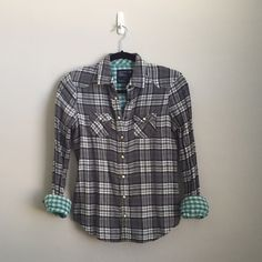Gray Plaid Shirt This shirt is gray with adorable teal lining. It looks so cute with the sleeves rolled up. Only worn a few times. Like new. American Eagle Outfitters Tops Button Down Shirts