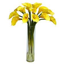 Calla Lilly with Cylinder Silk Flower Arrangement in Glass Vase