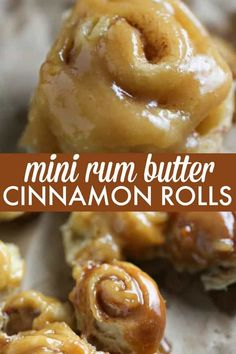 """Mini Rum Butter Cinnamon Rolls Mini Rum Butter Cinnamon Rolls – You will LOVE these """"mini"""" bite sized treats! Picture sweet cinnamon rolls baked in a luscious rum butter sauce. Breakfast Pastries, Breakfast Recipes, Dessert Recipes, Mini Breakfast Food, Breakfast Bites, Mini Desserts, Rum Butter, Butter Sauce, Butter Roll Recipe"""