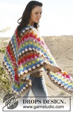 "Bulky yarn.  Size N hook.  DROPS 106-39 DROPS crochet shawl with stripes in ""Vienna"". free crochet pattern  Half granny square shawl"