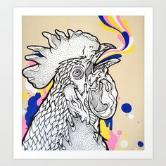 Le coq au ink Art Print by Casiegraphics - $22.88