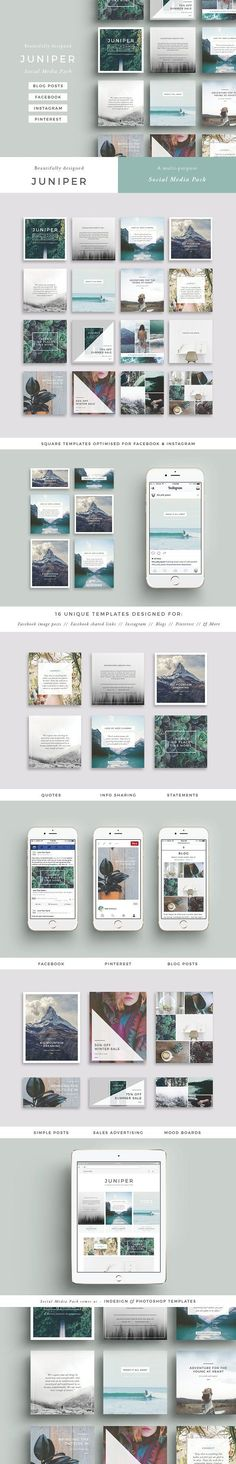 J U N I P E R Social Media Pack - beautiful multipurpose Social Media Pack covering all bases with easy to use templates