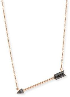 """Sydney Evan arrow pendant necklace. 14-karat rose gold. Integrated arrow pendant with pave black diamonds. 0.07 total diamond carat weight. Delicate chain necklace, 16-18""""L. Lobster clasp with extender. Imported."""
