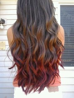 Red dipped ombre brunette waves