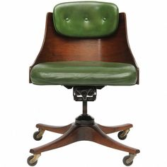 Edward Wormley for Dunbar walnut desk chair, 1940s.