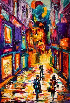 Increíble y coloridas pinturas de espátula de paisajes urbanos