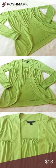 """Banana Republic Open Front Cardigan From BR- long sleeve, lime colored, open front cardigan. Lightweight poly/rayon blend. About 25.5"""" long.  Excellent condition. Banana Republic Sweaters Cardigans"""