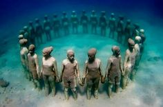 Cancun underwater museum off the coast of Isle de Mujeres & Cancun Mexico
