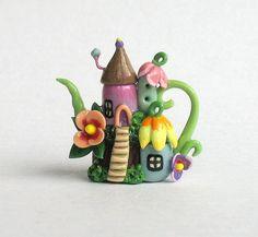 mystical fairies house creations with polymer clay   Miniature Fairy Houses Fairy Colony Teapot OOAK by ArtisticSpirit