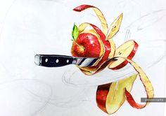 김해비투비, 사과,칼, 기초디자인 Food Illustrations, Illustration Art, Pencil Drawings Tumblr, Elements And Principles, Doodle Inspiration, Gcse Art, Painting Tips, Doodle Art, Art Sketches