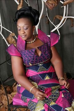 African dress: blue and pink