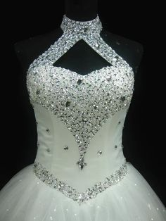 Bling Brides Bouquet - Online Bridal Store High Quality Sexy Halter Elegant White Lace Wedding Dress Luxury Crystal Vintage Plus Size Ball Gowns Item . Wedding Guest Gowns, Wedding Dresses Plus Size, Dream Wedding Dresses, Bridal Gowns, Wedding Dresses With Bling, White Lace Wedding Dress, Tulle Wedding, Ivory Wedding, Gown Wedding