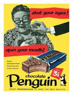 Charlie Byng saved to Eyecatching Vintage Adverts chocolate Penquin vintage candy ad