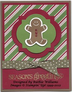 Ruthie's Holiday Stamp Camp card # 3  Adorable Gingerbread Man with scented Sugar & Spice Emboss powder!