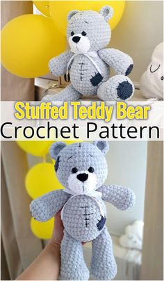 FREE crochet bear pattern Make your own teddy bear with this free amigurumi tutorial. To make this bear you need YarnArt Jeans yarn and mm crochet hook. Animal Knitting Patterns, Crochet Bunny Pattern, Crochet Amigurumi Free Patterns, Stuffed Animal Patterns, Free Crochet, Tatty Teddy, Crochet Decoration, Making Ideas, Lana
