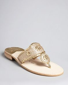 Jack Rogers Thong Sandals - Metallic Glitter | Bloomingdale's